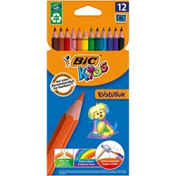 CRAYON COULEURS DE 12 KIDS EVOLUTION TROPICOLOR
