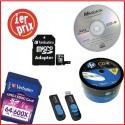 Stockage et sauvegarde: clé USB, carte mémoire, CD et DVD
